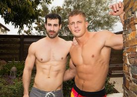 Hot muscle stud Nixon pounds Randy's bare ass hole at Sean Cody