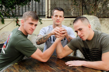 Hot recruits Quentin Gainz, Ryan Jordan & Richard Buldger in a hot Active Duty threesome