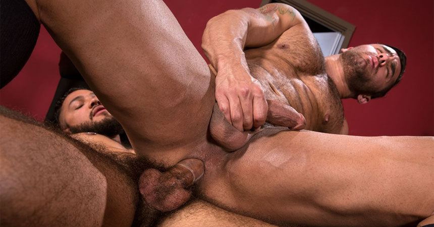 "Bruno Bernal takes Ryan Cruz' hard cock in ""High n' Tight"" part two from Raging Stallion"