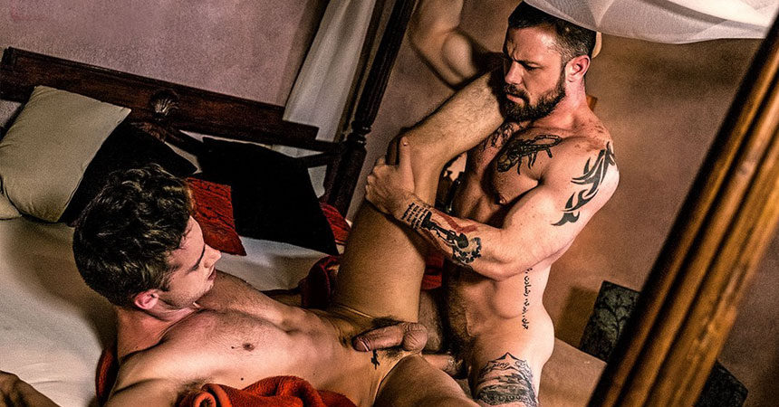 Horny muscle studs Damon Heart and Sergeant Miles in a bareback flip-fuck scene