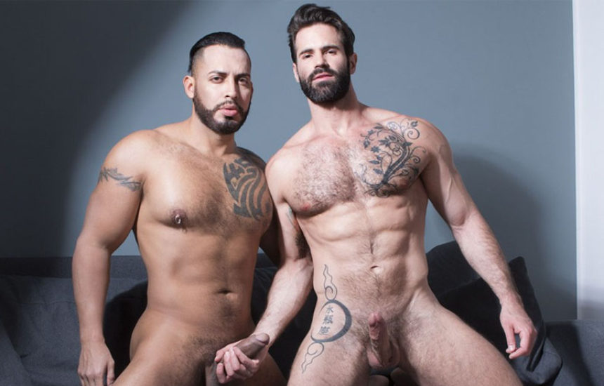 Bearded hunk Dani Robles takes Viktor Rom's big raw cock at Fuckermate