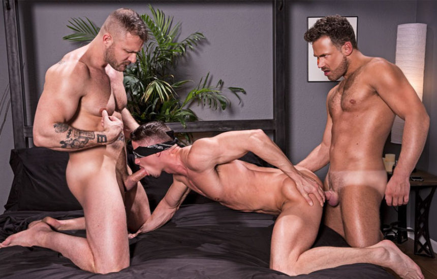 """Austin Wolf and Logan Moore fuck Skyy Knox in """"Blindfolded"""" part one from Hot House"""