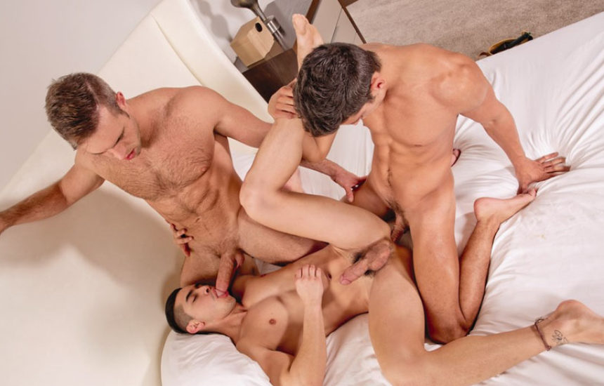 "Alex Mecum, Zander Cole and Alessandro Haddad fuck in ""Property Lovers"" part four"