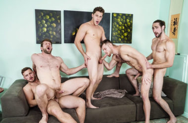 Trevor Long, Colby Keller, Roman Cage, Jacob Peterson & Paul Canon in a hot 5-guy orgy