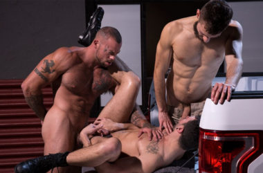 "Sean Duran fucks John Anders and Ian Greene in ""Drive Thru"" part 3 from Raging Stallion"