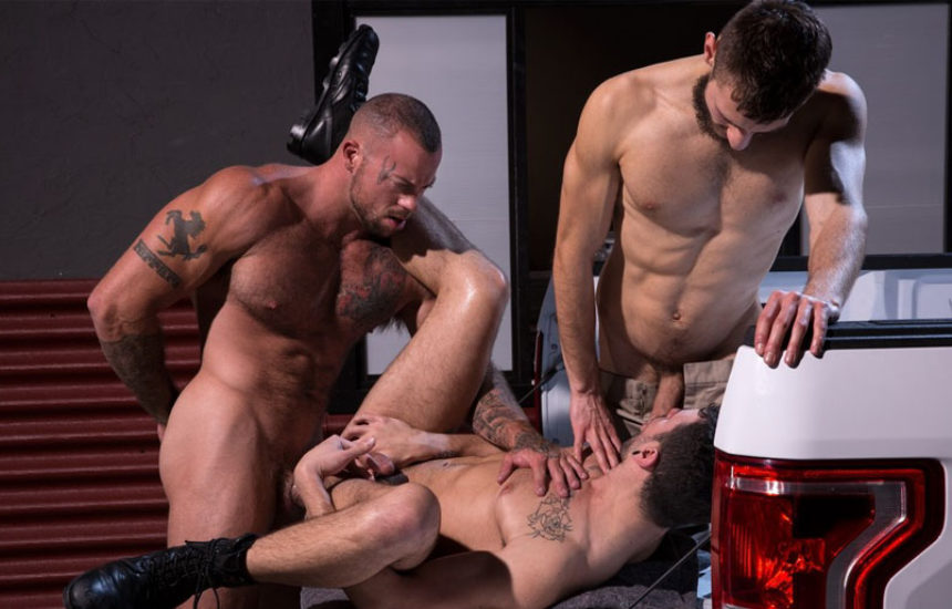 "Sean Duran fucks John Ander and Ian Greene in ""Drive Thru"" part 3 from Raging Stallion"