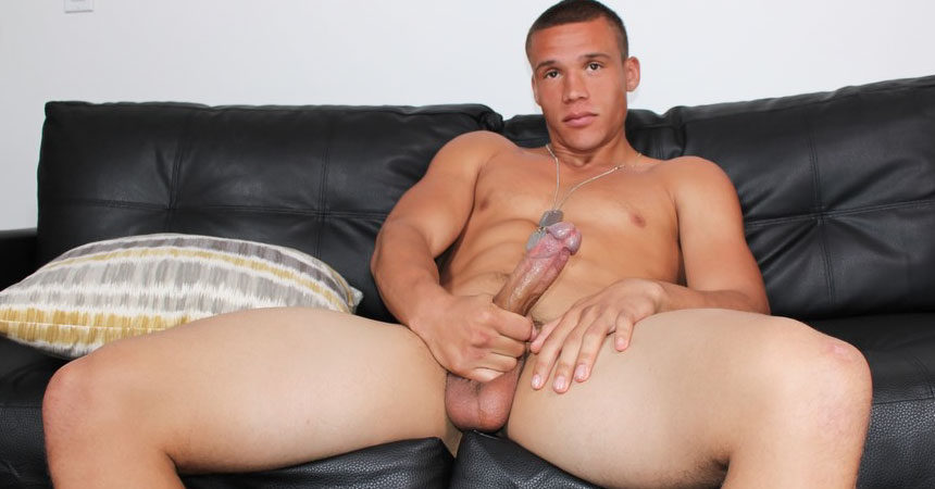 Beefy recruit Ken plays with his hard cock and big balls at Active Duty