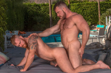 "Liam Knox and Jack Vidra flip-fuck in ""Pool Service"" part three from Titan Men"