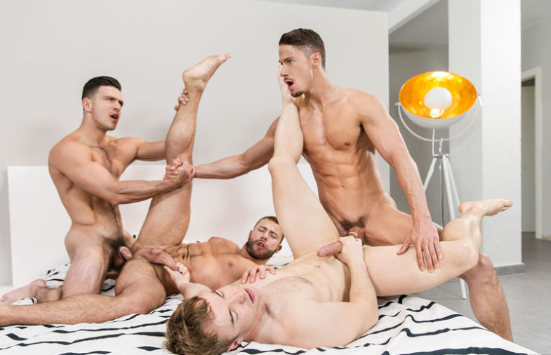 "Paddy O'Brian, Gabriel Cross, Skyy Knox & Diego Reyes fuck in ""Secret Affair"" part three"