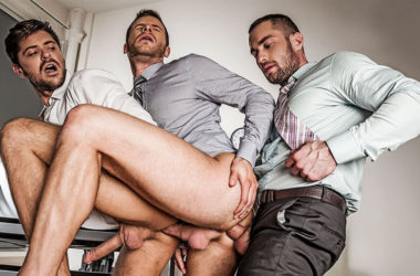 Stas Landon and Jack Andy double-fuck Brian Bonds at Lucas Entertainment