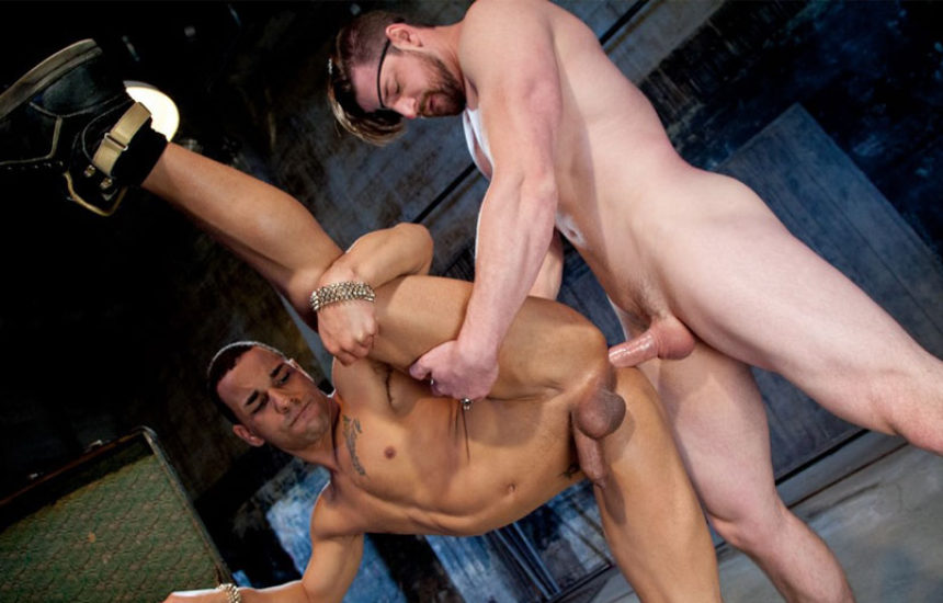 "Trelino pounds Andrew Stark in ""Earthbound – Heaven to Hell 2"" part one from Falcon Studios"