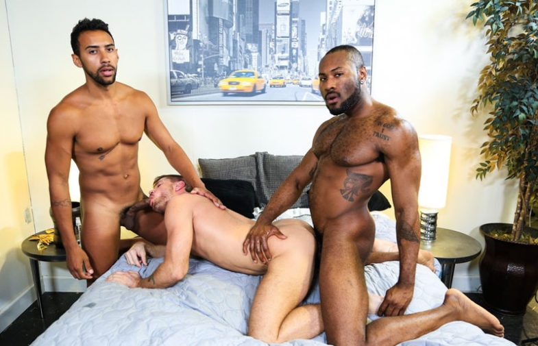 """Jack Andy, Jay Alexander and Noah Donovan fuck in """"28 Inches of Cock"""" from Pride Studios"""