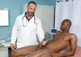 Doctor Joey Doves takes Corey Woods' oversized cock at Pride Studios