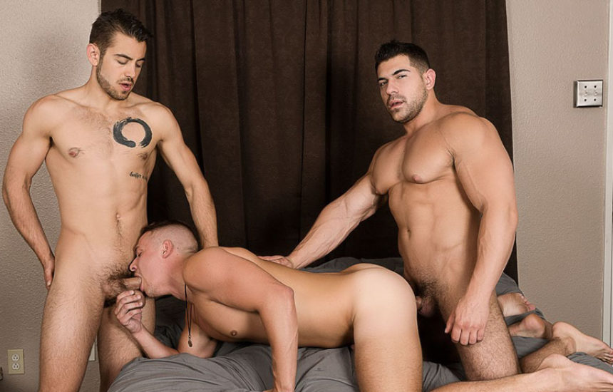 "Aston Springs, Damien Stone and Dante Colle fuck in ""Keep Watching"" from Bromo"