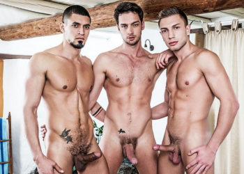 Bogdan Gromov and Ibrahim Moreno double-fuck Damon Heart at Lucas Entertainment