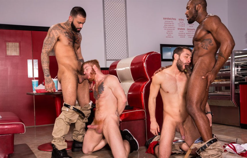 "Noah Donovan, Bennett Anthony, Rikk York and Lucas Allen suck in ""Drive Thru"" part five"