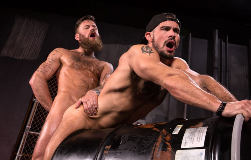 "Hairy stud Hoytt Walker pounds Aarin Asker in ""Beards, Bulges & Ballsacks"" part two"