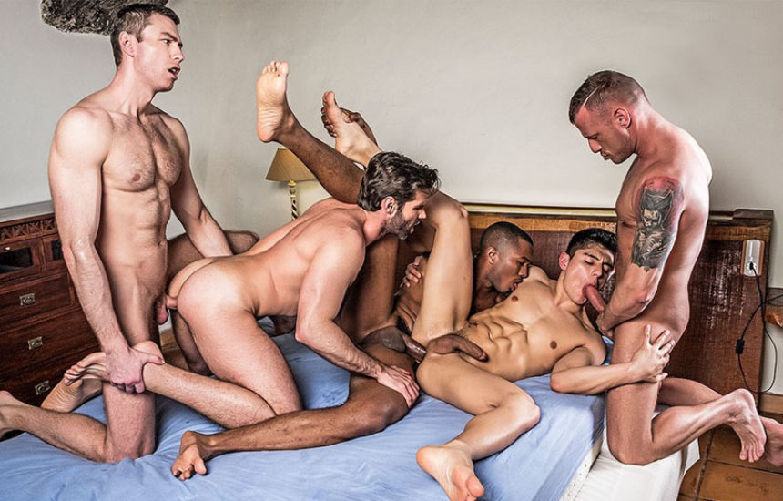 Ken Summers gets double-stuffed in a five-guy bareback orgy from Lucas Entertainment