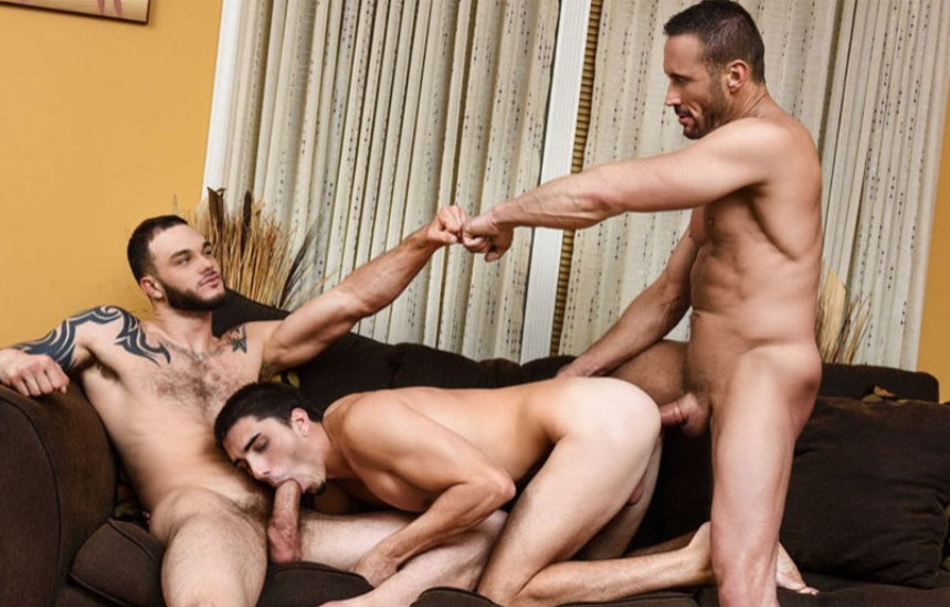 "Myles Landon and Cliff Jensen tag-team Damien Kyle in ""Coffee Time"" from Men.com"