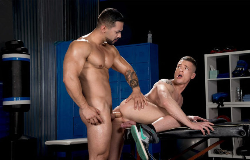 """Muscle hunk Arad Winwin fucks Rex Cameron in """"The Trainer: No Excuses"""" part five"""