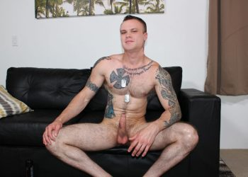 Inked recruit Cody Smith rubs out a creamy load for Active Duty
