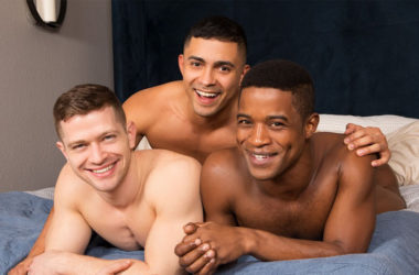 Muscle jocks Landon, Asher and Deacon fuck in a hot Sean Cody threesome