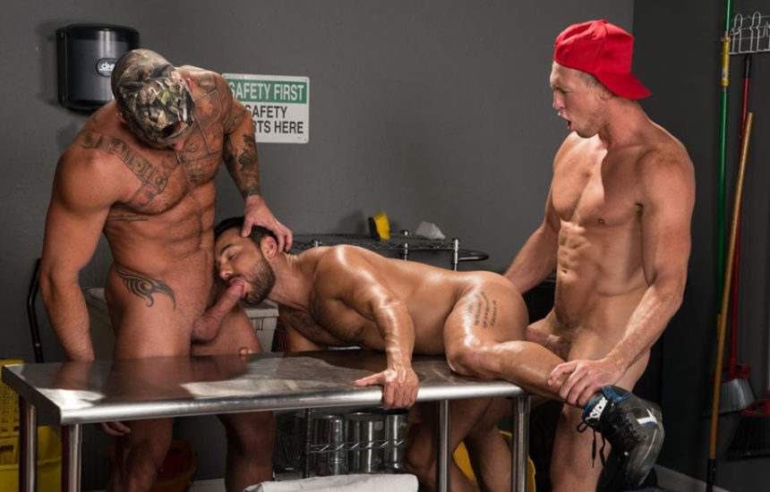 "Michael Roman, Pierce Paris & Bruno Bernal fuck in ""Gun Show"" part one from Raging Stallion"