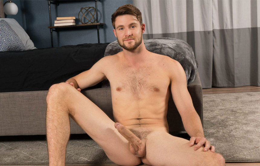 Hot newcomer Kody strokes his big uncut dick for Sean Cody