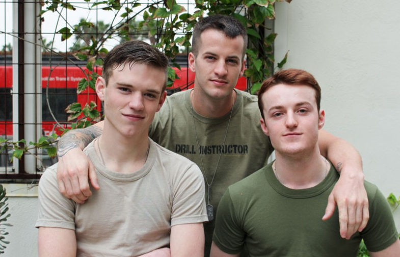 Quentin Gainz, Dominic and Scott V in a bareback threesome for Active Duty