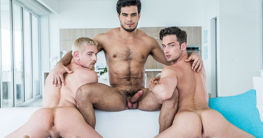 Cody Winter and Damon Heart get double-fucked in a raw threeway with Rico Marlon