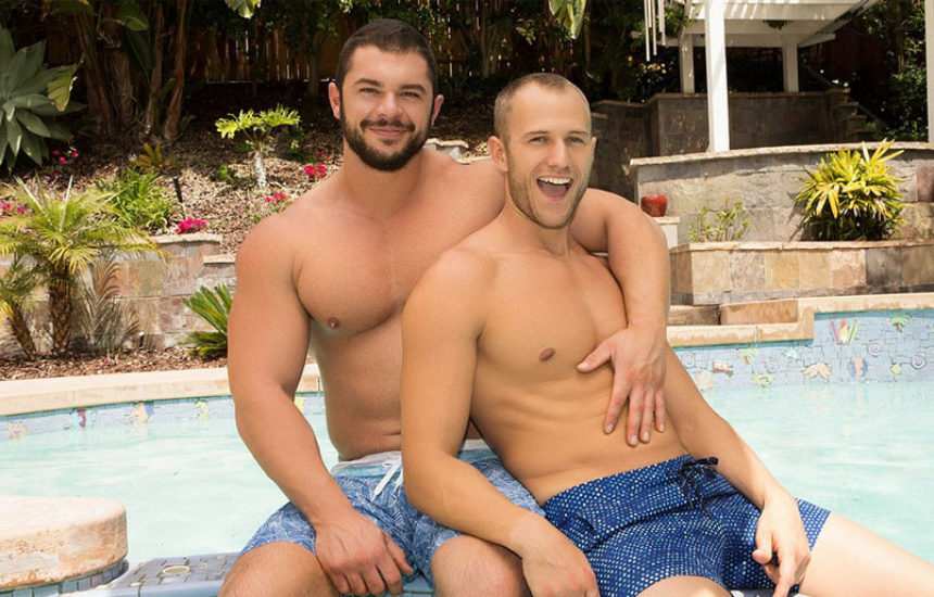 Beefy muscle stud Arnie barebacks Blake's delicious ass at Sean Cody