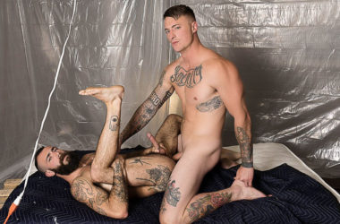 "Dane Stewart manhandles hairy bottom Stephen Harte in ""The Fucker Room"" part 4"