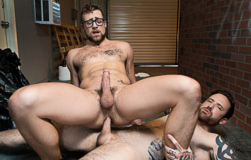 "Jay Austin takes Jordan Levine's big raw cock in Bromo's ""Whore Alley"" part two"