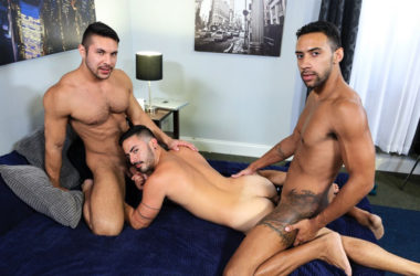 "Seth Santoro, Jay Alexander and Cesar Rossi fuck in ""Surprise Big Dick Threeway"""