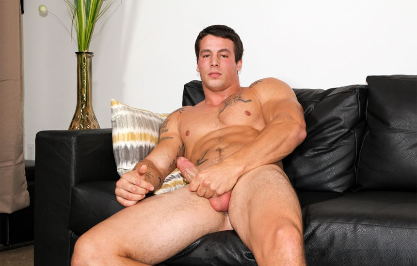 Big muscle stud Ty strokes his meaty cock for Active Duty