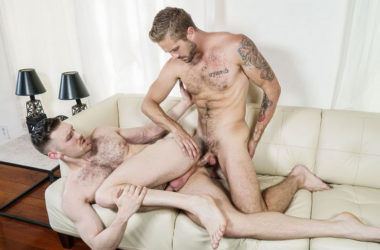 "Jacob Peterson bottoms for Wesley Woods in ""Hard Cocks Hidden"" from Men.com"