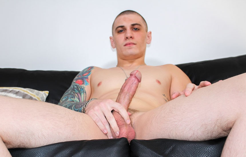 Alex Michaels strokes his meaty cock and empties his balls at Active Duty