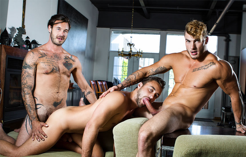 "William Seed and Dean Stuart spit-roast Samuel Stone in ""The Guys Next Door"" part 4"