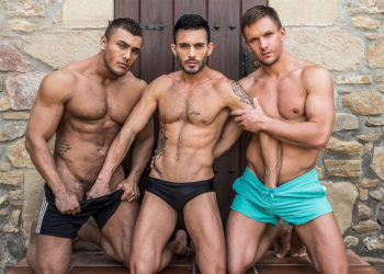 Andy Star bottoms for Brock Magnus and Andrey Vic at Lucas Entertainment