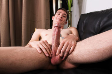 Connor plays with his balls and strokes his big dick for Active Duty