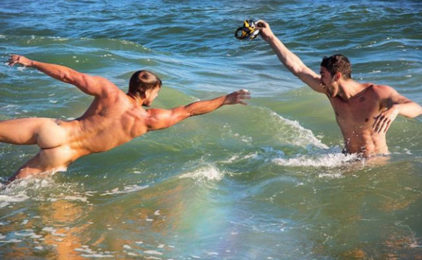 Max Emerson strips off to go skinny-dipping with US army officer boyfriend