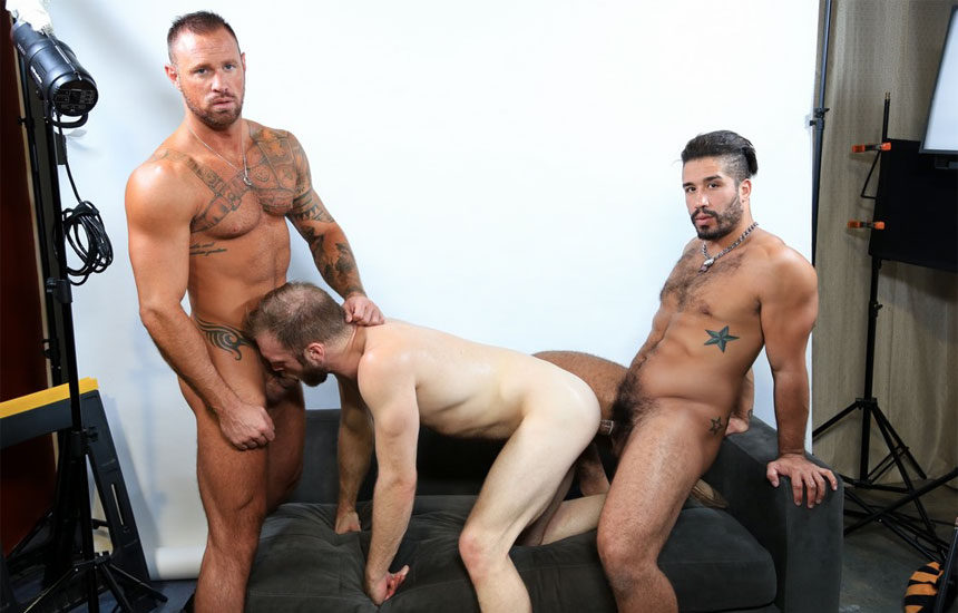 Trey Turner fucks Peter Marcus and Michael Roman in a hot Pride Studios threeway