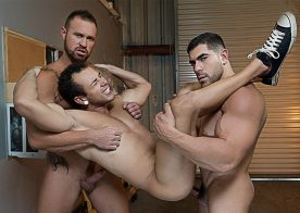 """Damien Stone and Michael Roman spit-roast Leon Lewis in """"Whore Alley"""" part 4"""