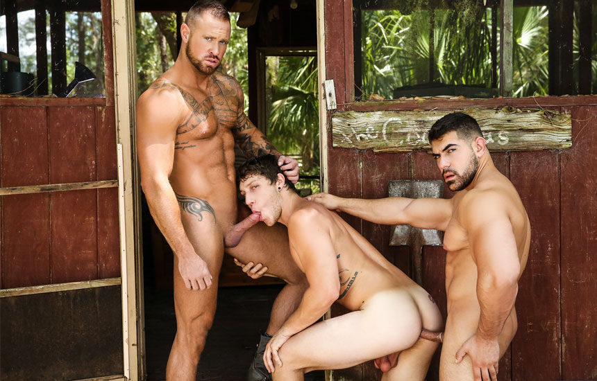 "Damien Stone, Michael Roman and Paul Canon fuck in ""The Bayou"" part three"