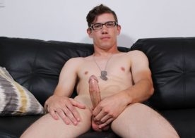 Army boy Bud strokes his hard dick till he shoots his load at Active Duty