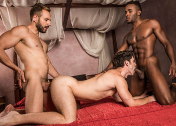 Mario Galeno leads a bareback threesome with Pheonix Fellington and Devin Franco