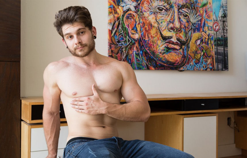 Cute newcomer Matty Strong strokes his dick for Next Door Studios