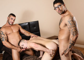"Jack Kross and Ryan Bones fuck Tobias James in ""Sneaky Slut"" from Men.com"