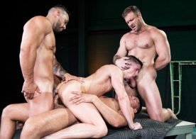 """Austin Wolf, Arad Winwin and Tyler Roberts fuck Skyy Knox in """"The Fixer"""" part four"""