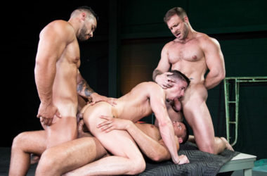"Austin Wolf, Arad Winwin and Tyler Roberts fuck Skyy Knox in ""The Fixer"" part four"